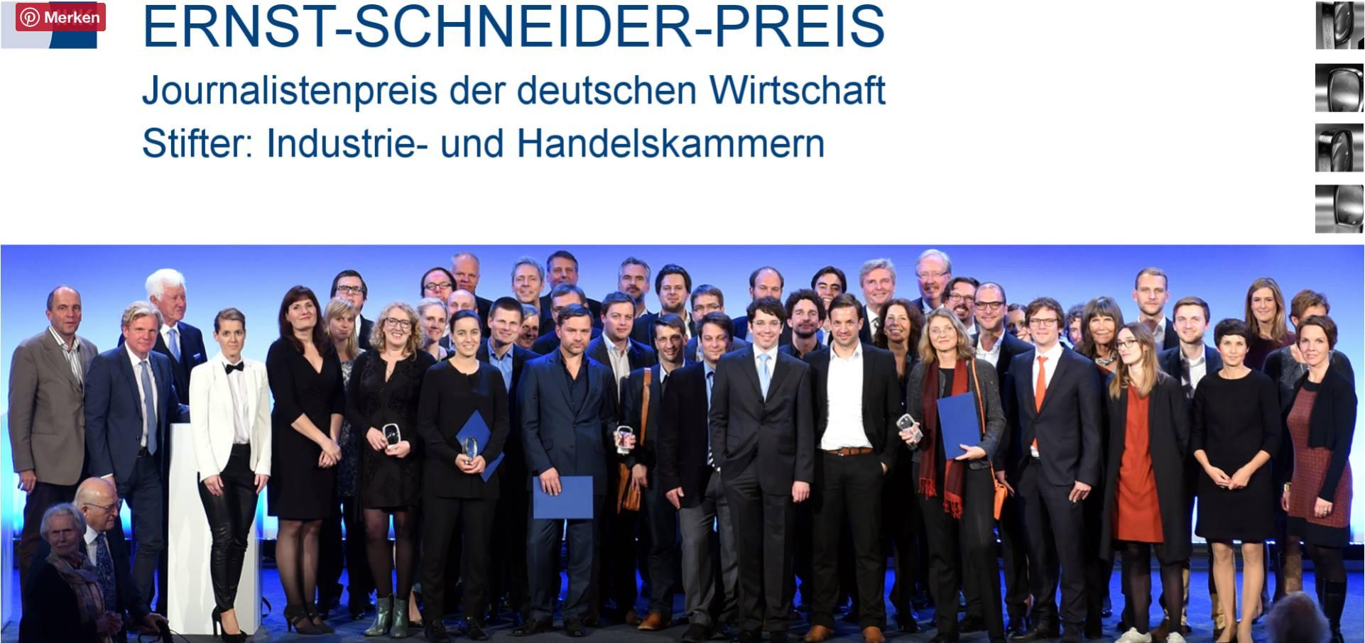 Journalistenpreis der deutschen Wirtschaft – Ernst-Schneider-Preis 2016 Blog